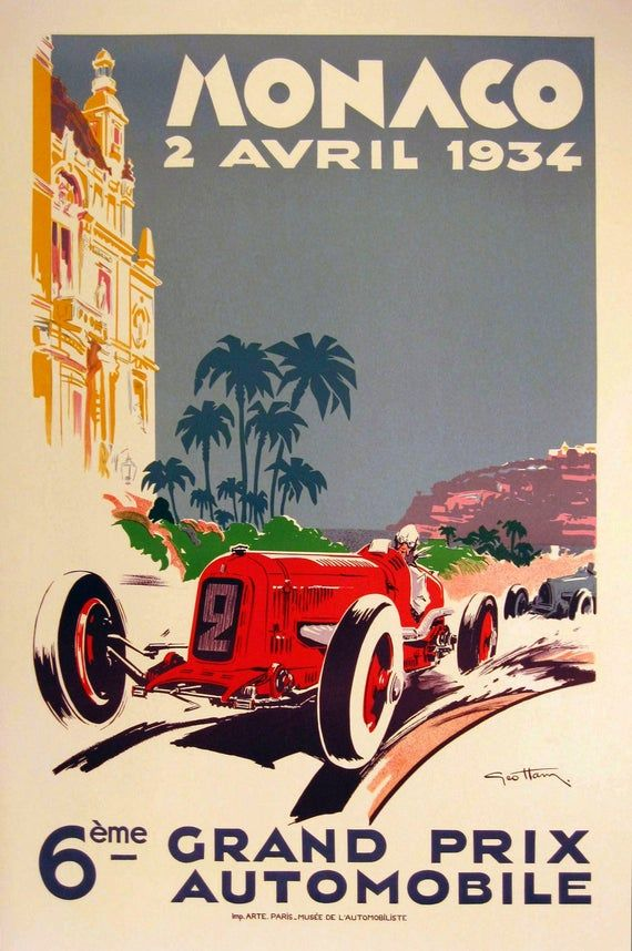 1934 Monaco Grand Prix Print Poster Etsy Grand Prix Posters Monaco Grand Prix Posters Vintage Racing Poster