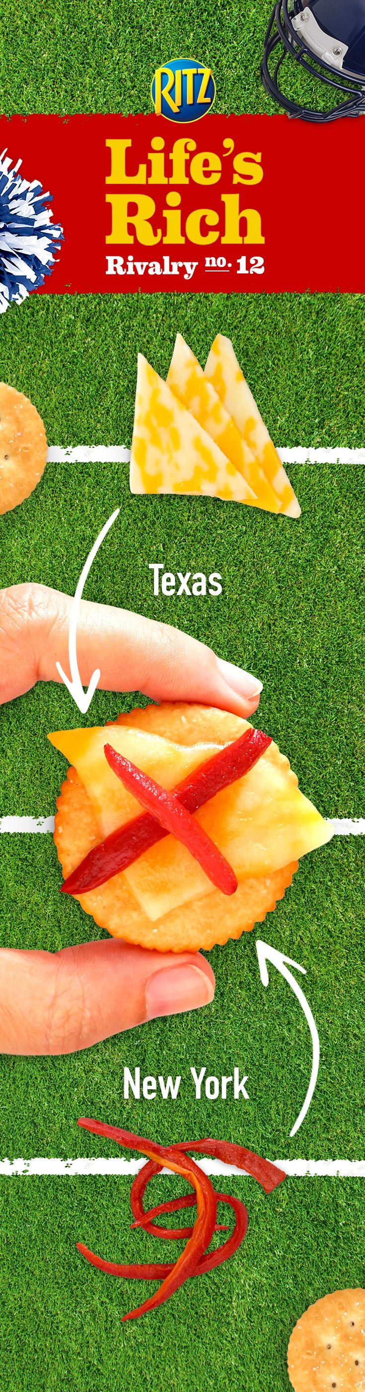 Your friends will forget who's in the Red Zone at your football game day party when they unite over Texas-favorite Colby Jack cheese combined with New York-loved red pepper in mouth-watering Cheesy Red Pepper RITZ! Bring the party together by following this easy recipe for winning taste: 1. Cut Colby Jack cheese diagonally in half and place on RITZ Crackers 2. Place on microwaveable plate and add the strips of roasted red peppers 3. Microwave until cheese is melted and serve warm.