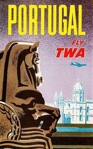 TWA travel poster Portugal - Artist: David Klein