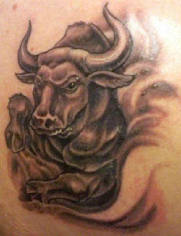 Tattoo Bull Motif  - http://tattootodesign.com/tattoo-bull-motif-2/  |  #Tattoo, #Tattooed, #Tattoos