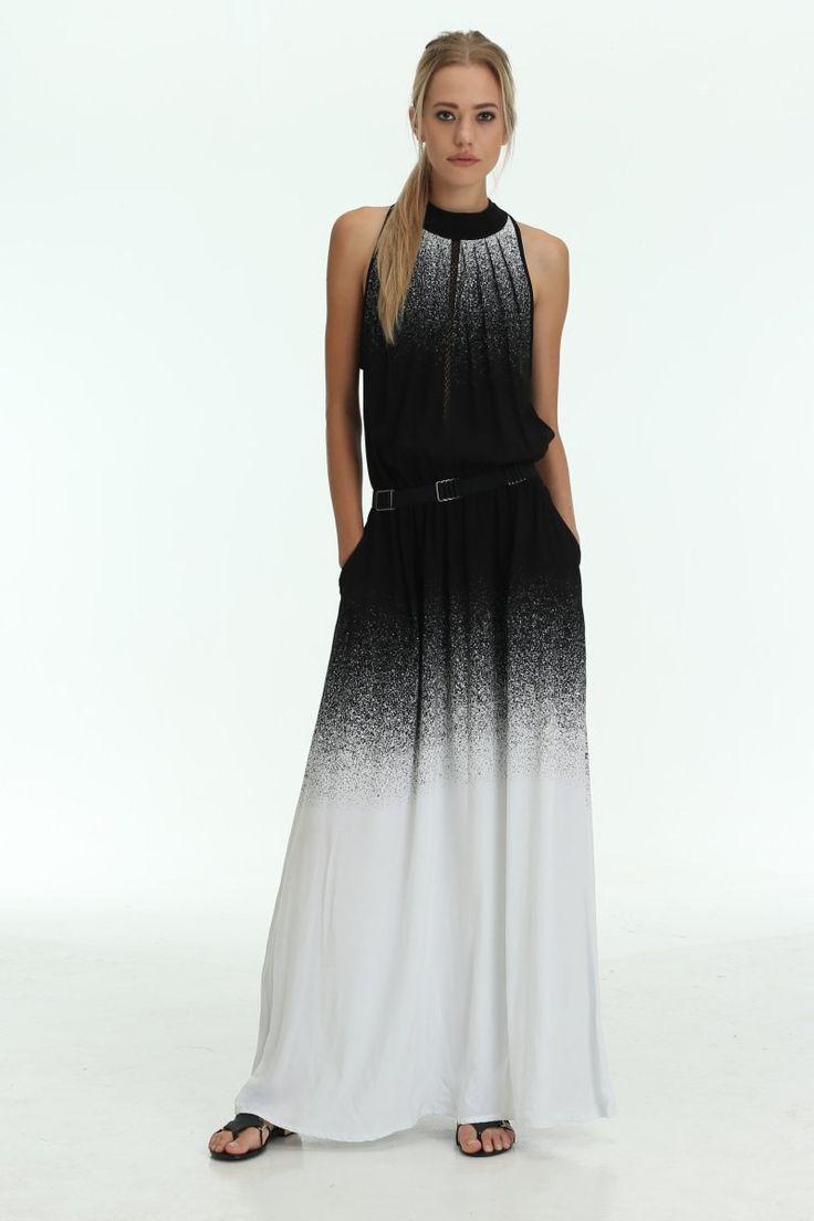 The Shanti Butterfly - Black / White Hybrid Maxi Dress With Belt