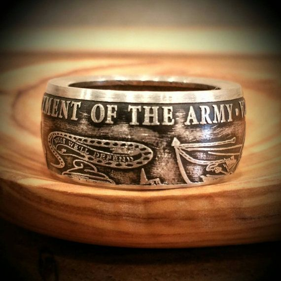 US Army Ring  Hand Forged .999 Pure Silver by ReedsCustomRings