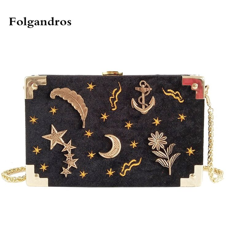 Velvet Flap Crossbody Bag for Women Star Moon Embroidery Shoulder Bags Female Long Gold Chain Messenger Bag Box Handbag Clutches-in Underwear from Mother & Kids on Aliexpress.com | Alibaba Group