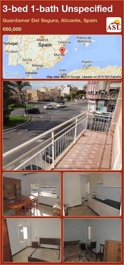 3-bed 1-bath Unspecified in Guardamar Del Segura, Alicante, Spain ►€60,000 #PropertyForSaleInSpain