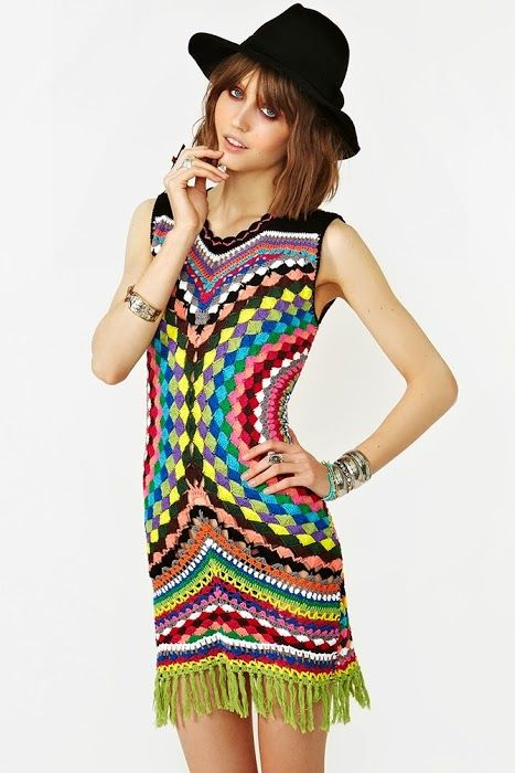 Outstanding Crochet: Multicolored Crochet dress from Shakuhachi.