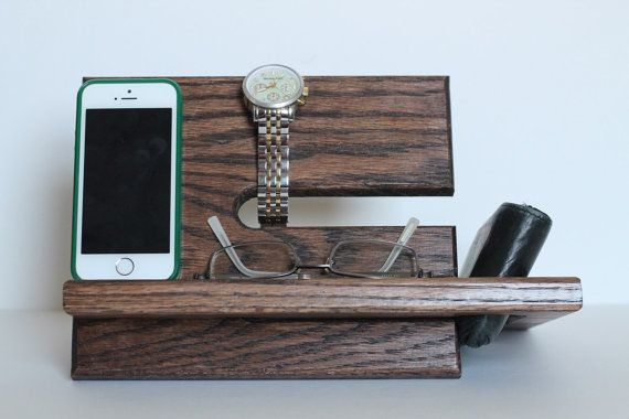 Large Wallet Model A Night Stand Oak Wood Valet iPhone Galaxy Charging Stand Nightstand Dock Graduation Father's Day Birthday For Him or Her