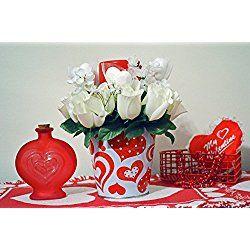 Valentine Day Decor, Floral Arrangement, Table Decoration, Valentine Pail, Valentine Gift, LED Candle, White Pail, Ready to Ship!
