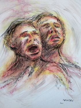 "Saatchi Online Artist Masri Hayssam; Drawing, ""Screaming..Syria series -SOLD-"" #art"