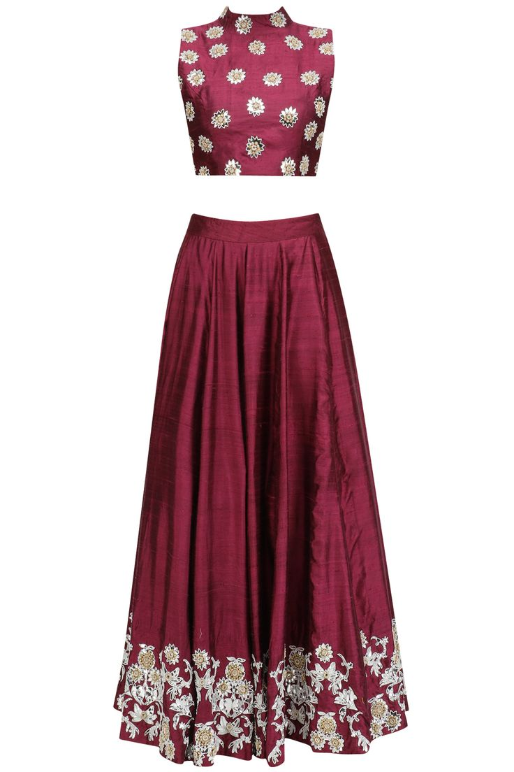Wine embroidered lehenga and off shoulder blouse set available only at Pernia's Pop Up Shop.