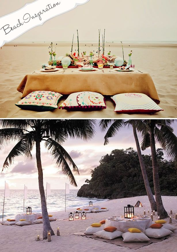 beach wedding, this would be cute if I didn't have to worry about older people sitting... maybe have a mix of these and reg tables?