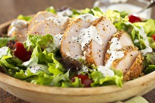 Blackened Chicken Salad with Creamy Black Pepper-Parmesan Dressing