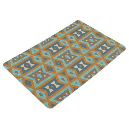 Teal Turquoise Orange Brown Eclectic Ethnic Look Floor Mat - rustic gifts ideas customize personalize