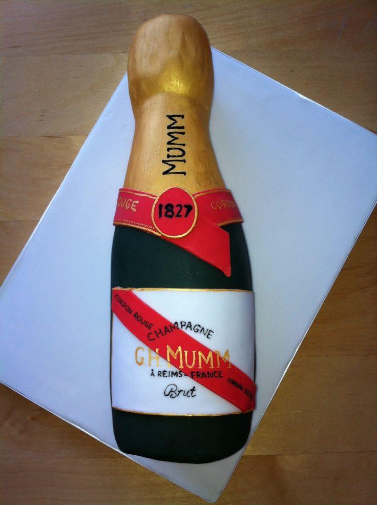 Mumm champagne bottle cake