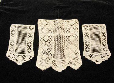 Antique Crochet Antimacassar 3 Pc Set  Chair Back  Arm