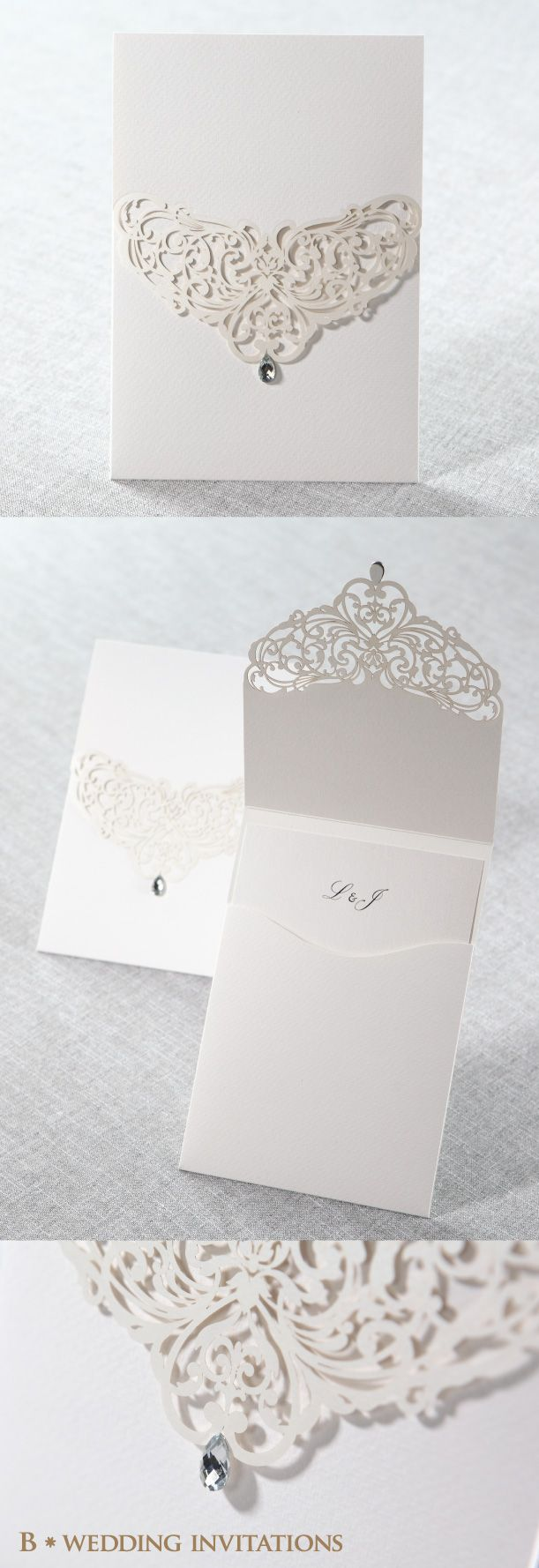 Verona wedding invitation boxed white lace amp pearl brooch w - Jeweled White Laser Cut Pocket By B Wedding Invitations