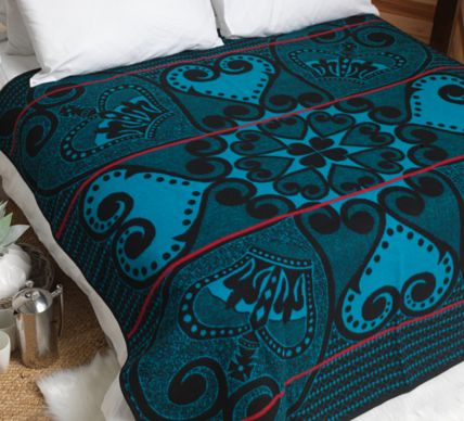 "Heart of the King Basotho Blanket  (Turquoise and Black). ""The Heart of the King"" or ""Pelo-Ha-Morena"" genuine Basotho Blanket is part of the Victoria England range. The range originates from the late 1800's when Queen Victoria visited then Basotholand and bestowed upon King Lerotholi Letsie the gift of a blanket. Little formal commentary exists for this particular design but its intricate design of hearts and crowns is thought to symbolize a love for the king or chief."