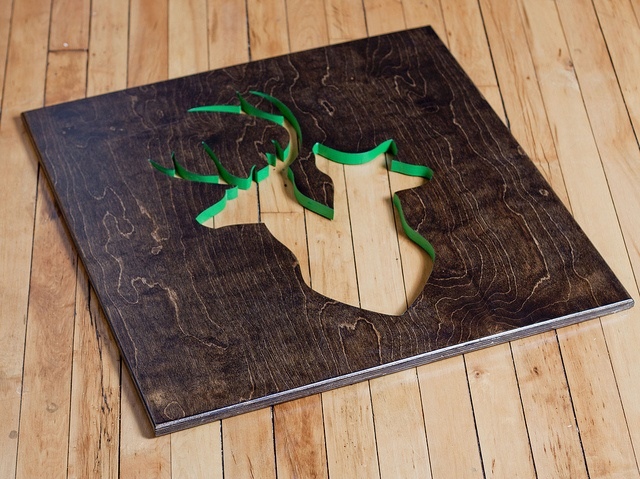 Oh Dier logo cut into reclaimed red oak ply. Cut edge painted a bright kelly green
