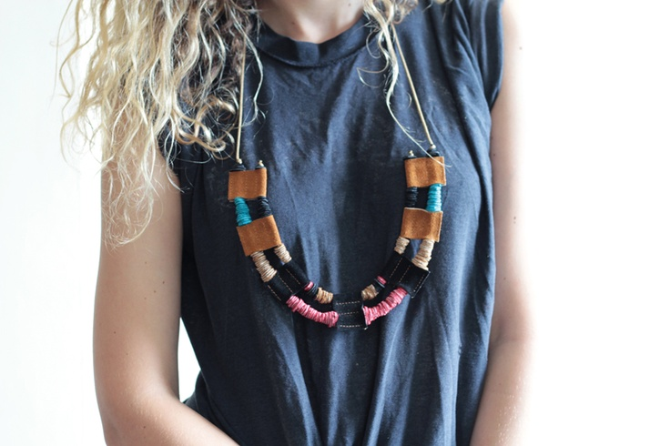 repurposed scraps of leather make beads on cotton cording.