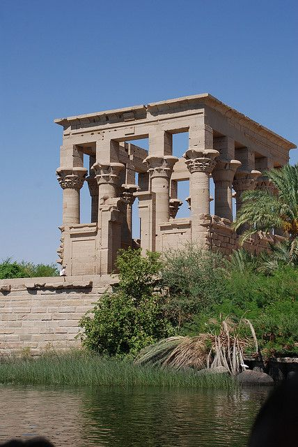Philae Temple of Isis, on Agilkia Island in Lake Nasser, Egypt. The temple is the oldest structure of Philae, built between 380-362 BC.