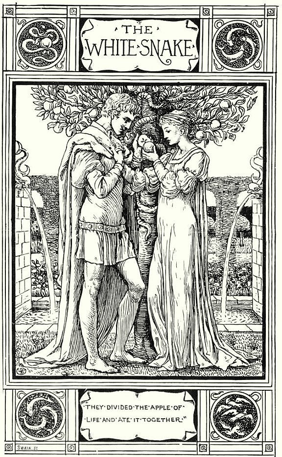 Illustration by Walter Crane from The White Snake (Brothers Grimm)