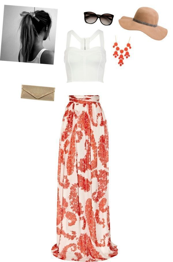 dinner outfit: flowy maxi skirt, crop top, statement necklace