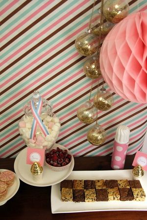 Pink and gold stripe buffet