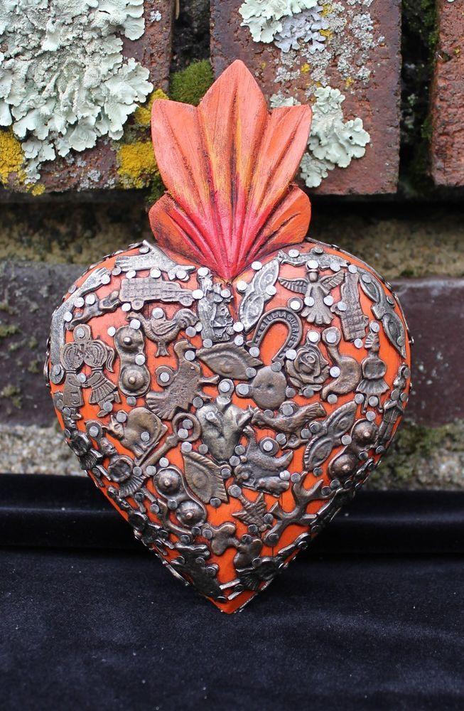 Orange Sacred Heart Wood Milagro covered, Folk Art Michoacán Mexico, Love Token