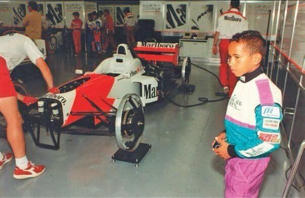 Lewis Hamilton spotted in the McLaren garage #F1. Hamilton, at age 12, when introduced to Ron Dennis, boldly told him that he would one day drive for him. Prophesy fulfilled!
