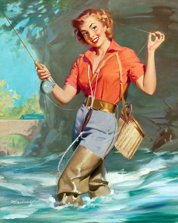 130 best pinups images on pinterest etchings vintage for Girls gone fishing