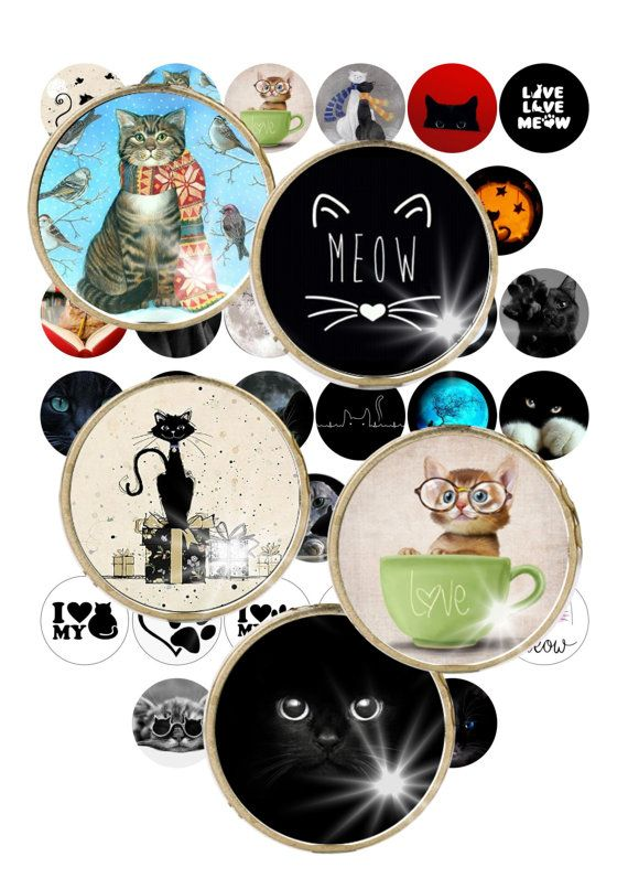 Digital CollageCat Cats Cateye Animals 1.2  by ThePrintablesWorld