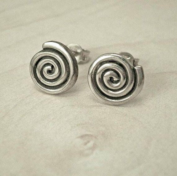 Silver stud earringsround stud earringsGreek stud