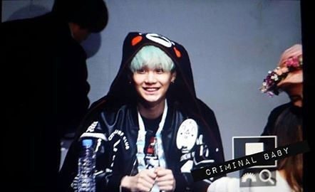 Suga with kumamon clothes he really likes this bear