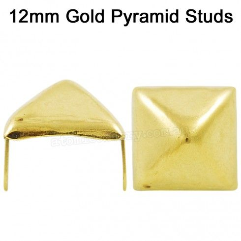 12mm Pyramid Studs Gold (Pack of 50) $14