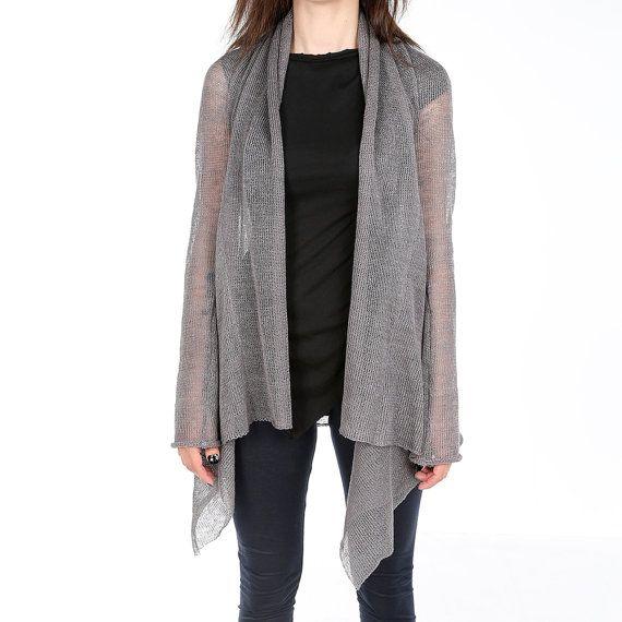 Grey knit cardigan dark style linen cardigan by ANDADAclothing