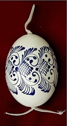 Painted Indigo Blue and White Wooden Egg