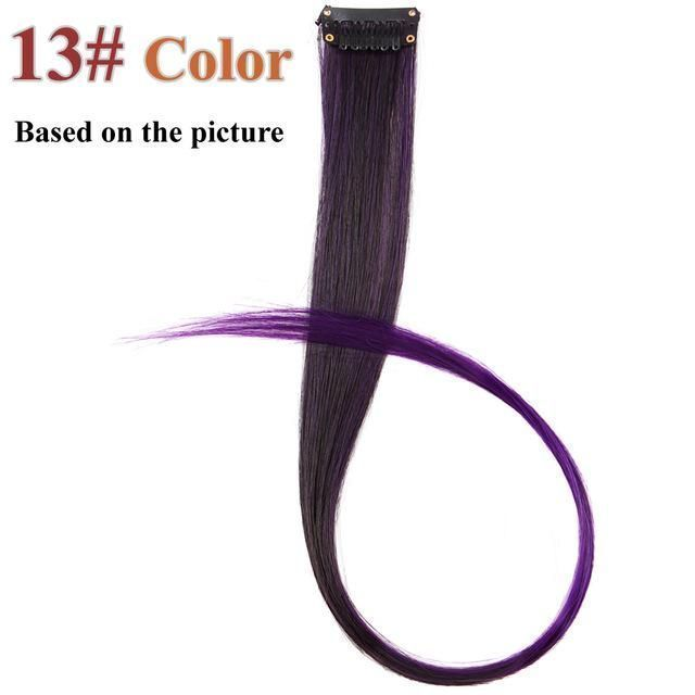 20 Colors 50CM Single Clip In One Piece Hair Extensions Synthetic Long Straight Ombre Grey Blonde Red Hair Pieces