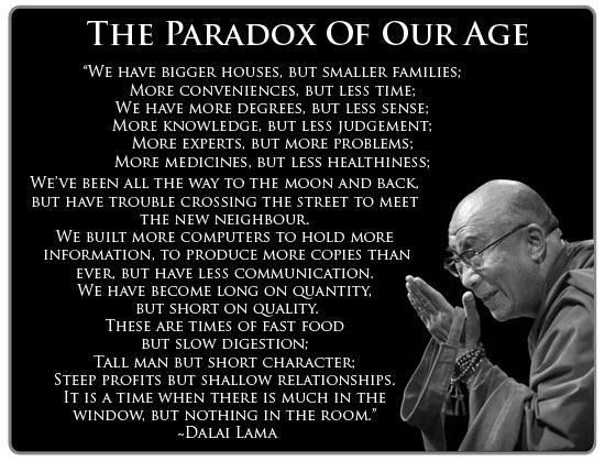reaction in paradox of our time Words of wisdom: the paradox of our times there are taller buildings more conveniences but less time we have more degrees but less sense.