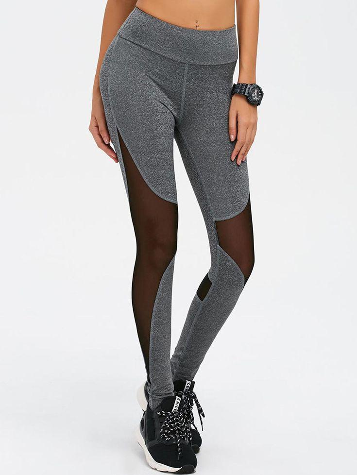 $13.96 for Mesh Spliced High Waist Skinny Yoga Leggings GRAY: Active Bottoms | ZAFUL