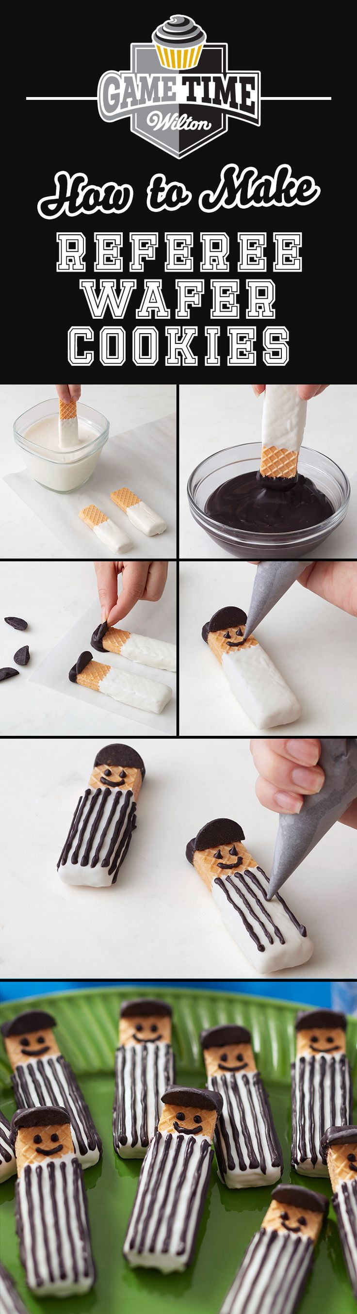 How to Make Referee Wafer Cookies - It's so easy to make these adorable referee wafer cookies! Melt Bright White Candy Melts and Black Candy Melts and dip wafer cookies. Make them for any youth football team treat, tailgating party or just to impress your