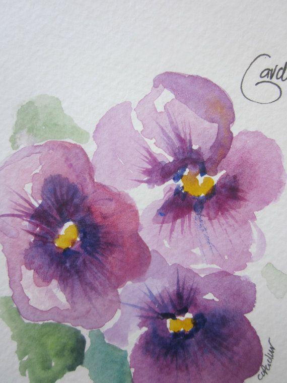 Mehr lila Stiefmütterchen Aquarell Karte von gardenblooms auf Etsy