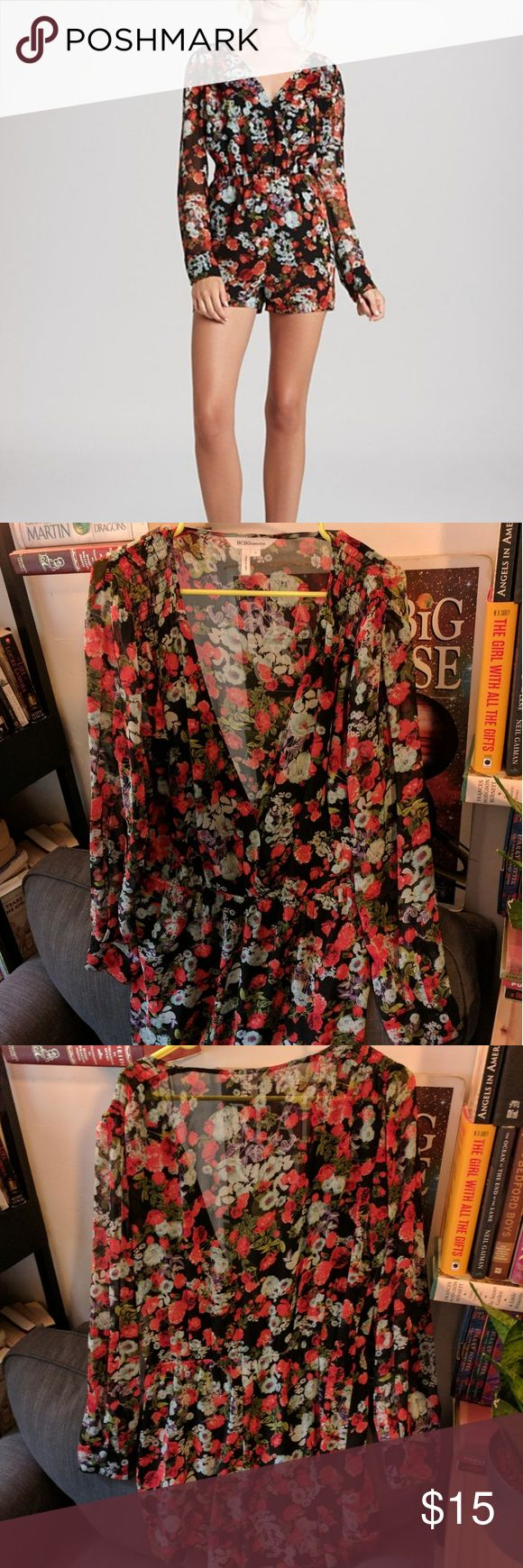 BCBGeneration Long Sleeve Floral Romper Only worn twice, excellent condition. Snaps to make it as booby or not booby as you want. Very cute with a waist belt. Easy on and off so you're not trapped and fighting for your life if you have to go to the bathroom.   Bottom and front are lined, while the back is somewhat see through. BCBGeneration Shorts