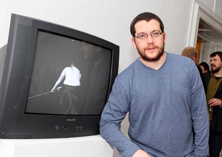Garreth Gleeson pictured at the First View next to his piece Going Nowhere' - www.noelbrownephotographer.com