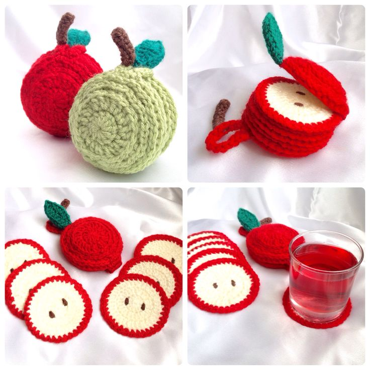 Fruity Tableware Range -  Hooked On Patterns Sliced Apple Coaster Set crochet pattern