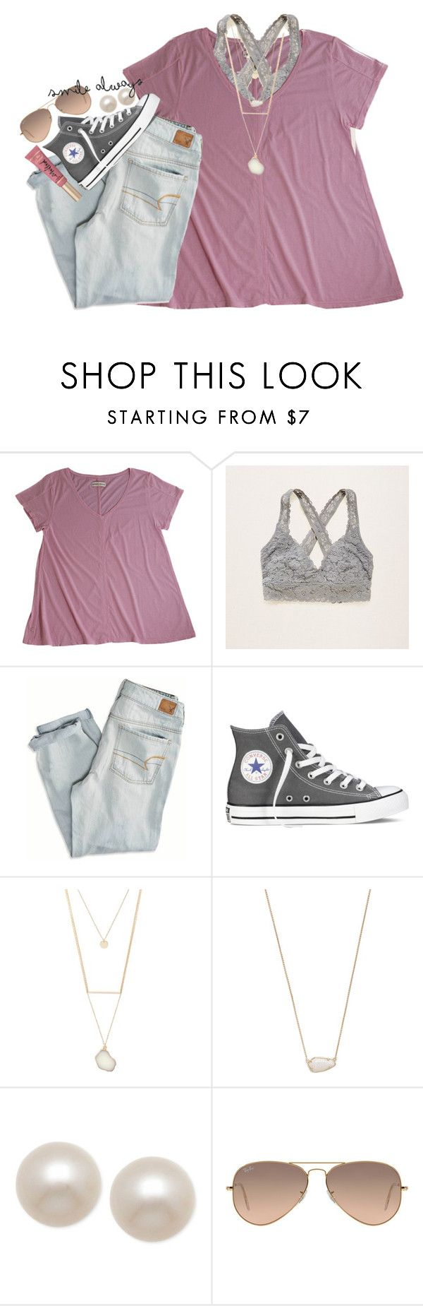 """want a bff set w me? rtd for more info"" by smbprep ❤ liked on Polyvore featuring LABEL+thread, Aerie, American Eagle Outfitters, Converse, Forever 21, Kendra Scott, Honora, Ray-Ban and Too Faced Cosmetics"
