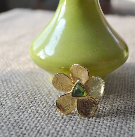Vintage Goldtone Floral  Brooch Pin 1970s by talkOfThetown on Etsy, $14.00