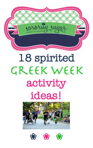 If your organization is looking for some new ideas for greek week, check out these active, spirited ideas from sorority sugar! <3 BLOG LINK: http://sororitysugar.tumblr.com/post/108679891024/spirited-greek-week-activity-ideas#notes