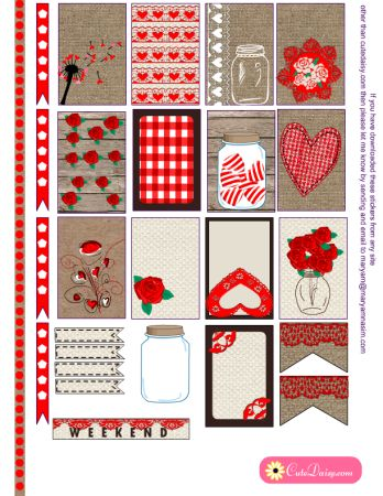 FREE Valentine's Day Rustic Stickers for Happy Planner and Erin Condren Life Planner by Cutedaisy