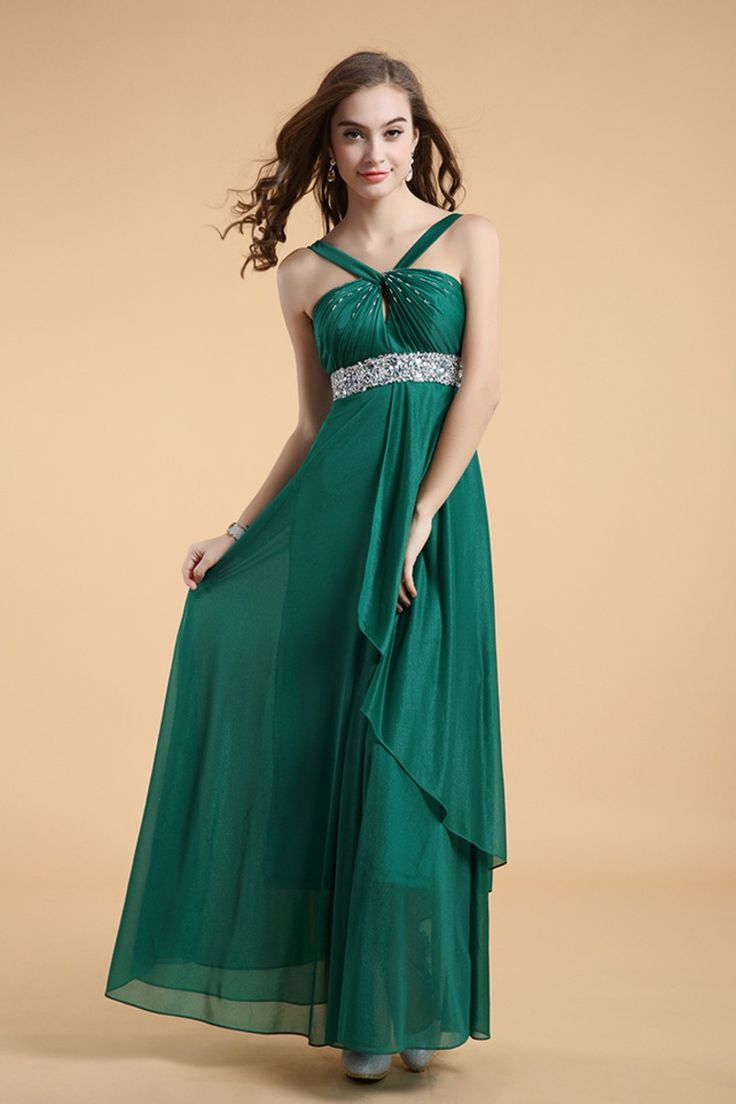 2014 Straps A Line Long Chiffon Prom Dress Beaded&Ruffled With Flowing Skirt #3511