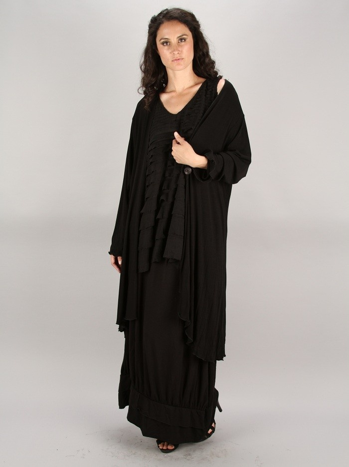TRANSPARENTE BLACK JERSEY SHORT ROBE