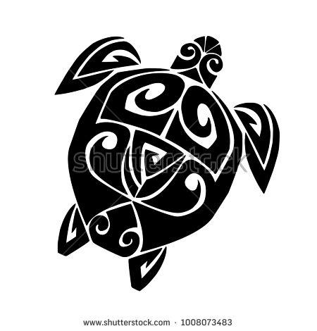 Sea turtle in the Maori style. Tattoo sketch
